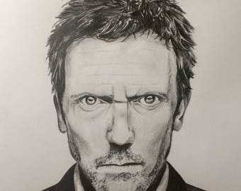 Pencil drawing / Dr House / framed / 24x18cm