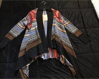 Women's color print asymmetrical cardigan