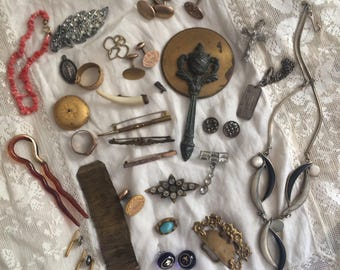Antique + Vintage Jewelry Lot Victorian Art Deco Nouveau Coral Brooch Bar Pins Mirror Necklace Fob Ring buckle - Wear/Repair/Craft - LOT 3