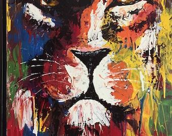 Predator- original framed portrait of lion