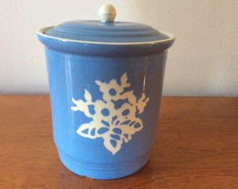 Cameo Ware kitchen canister blue vintage