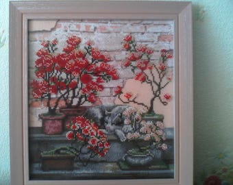 "Embroidered picture ""Flower house"""