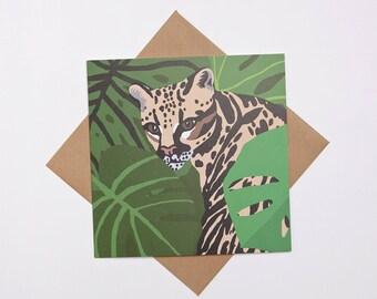 Ocelot greeting card