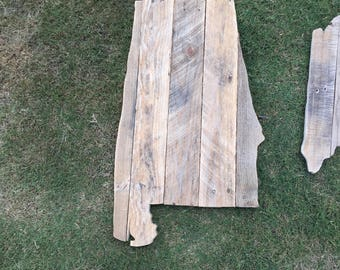 Reclaimed Wood Alabama State Sign
