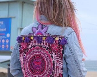 Embellished jean jacket, embroidered denim jacket, 70s style denim, Hmong tribe embroidered denim, festival fashion, boho denim jacket