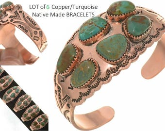 WHOLESALE LOT of 6 Turquoise / Copper Cuff Ladies Native Made Navajo Bracelets