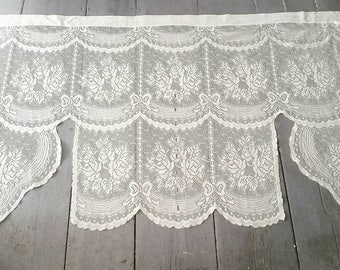 "Large White Lace Window Curtain. Vintage White Lace Window Curtain. Romantic Sheer White Lace Curtain. 57 x 36""."