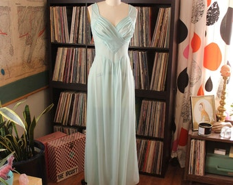 pale aqua vintage nightie by Munsingwear . sheer robins egg nightie, full length nylon nightgown with gathered bodice, size 32