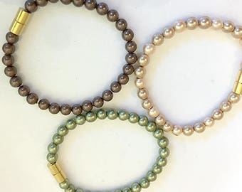SALE FOR THREE! Magnetic Pearl Bracelets - Brown, Taupe, Peridot Colors