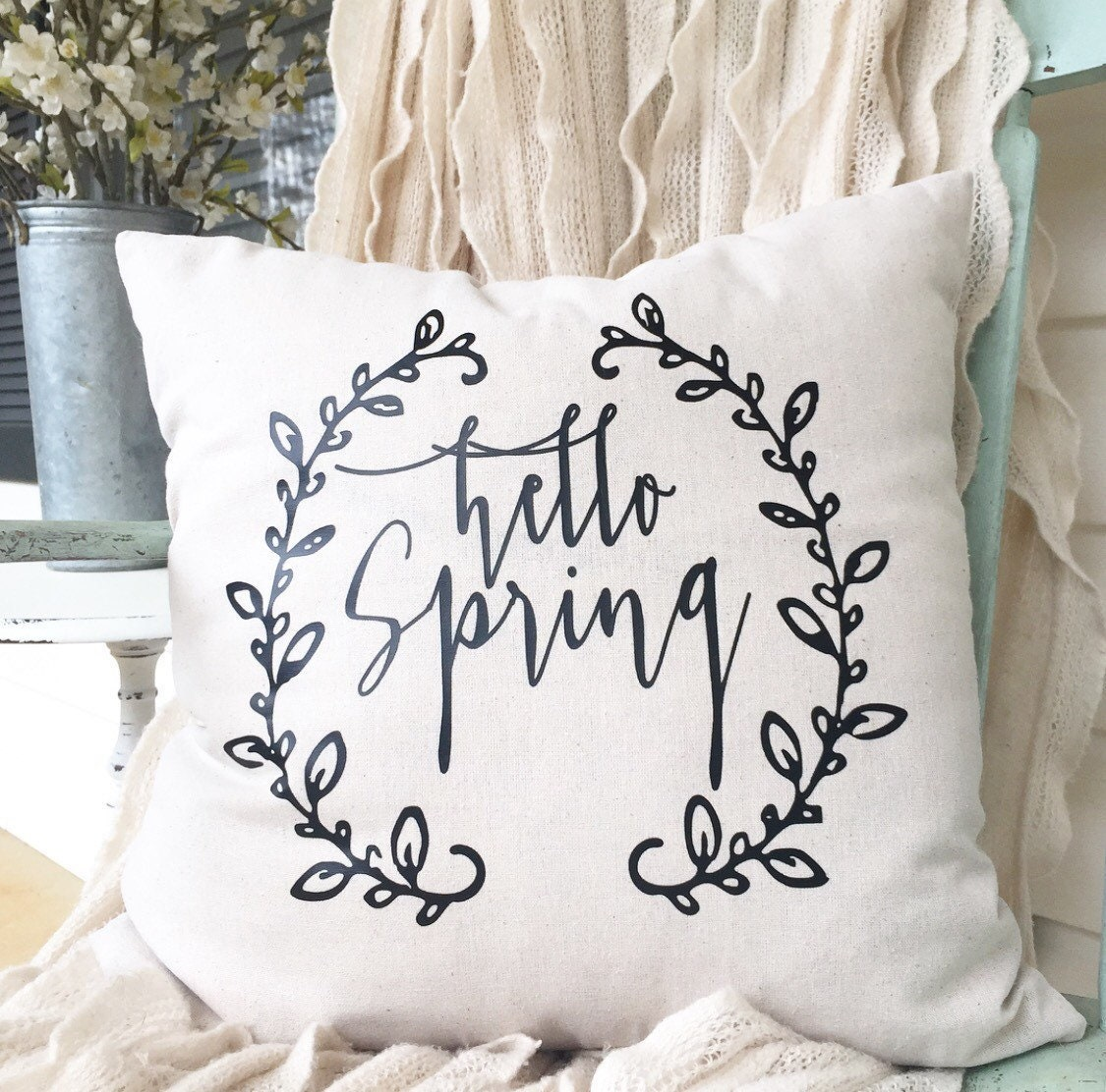 Free Shipping Hello Spring Easter Wreath Laurel 18x18 pillow cover pillow case Farmhouse Farm