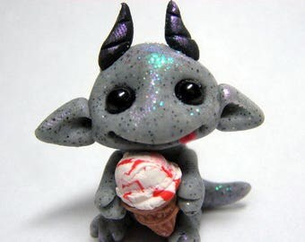 OOAK Stone Gargoyle Dragon Trollfling Troll baby with Cherry Ripple Ice Cream cone