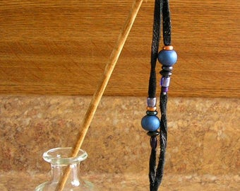 "Hair Stick - Blue Beaded Black Leather 9"" hair stick with copper and blue trade beads"