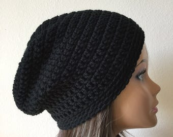 Black Slouchy Hat,  Slouchy Beanie,  Black Tam, Ready to Ship Slouch,   Teen or adult Modern slouchy, Trendy Beanie