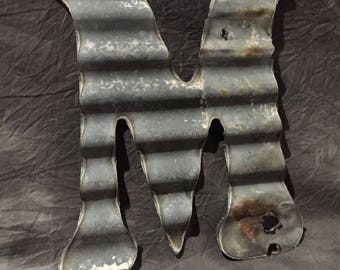 M - Recycled Antique Roofing Tin Letter by JunkFX