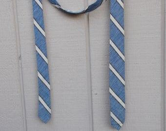 "80s Vintage Blue Striped Cotton bias weave Skinny Tie / 1-3/4"" wide Neck Tie"