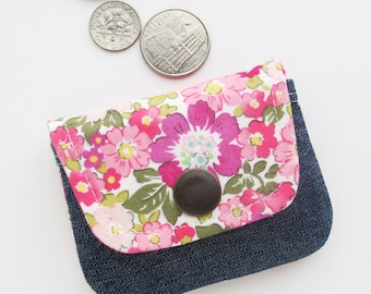 Coin Purse | Floral Fabric Change Purse Pouch