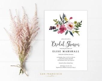 Bridal Shower Invitation INSTANT DOWNLOAD |  Printable Bridal Shower Invite | Floral, Watercolor, Pink, Garden |  Elise Collection  | PDF