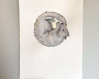 Original Watercolor - Full Wolf Moon
