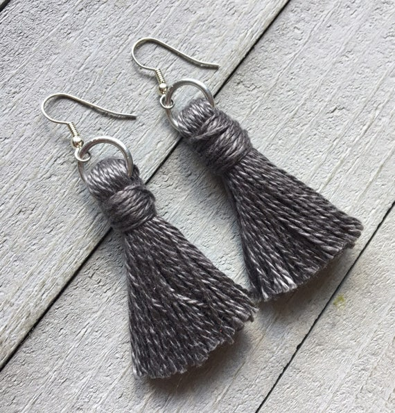 "Tassel Earrings, Earrings with Tassels, Tassel Dangle Statement Earrings, Gift for Her,   -  2"" Classic Cotton Tassel Gray"