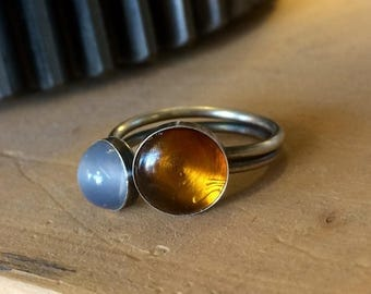 Sterling Silver and Amber and Moonstone Ring Size 8