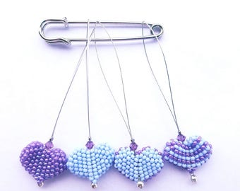 Snag Free Beaded Knit Stitch Markers with Swarovski Crystal Accent Set Of 4- Periwinkle Blue and Purple
