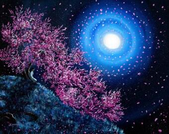 White Tara Goddess Fine Art Print Dryad Tree Spirit Meditation Spiritual Art Print Sakura Cherry Blossoms Giclee Canvas Home Decor Wall Art