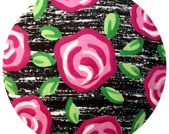 Pink Roses Black White Knobs Hand Painted Knobs Wood Decorative Knobs Dresser Knobs Cottage Shabby Chic Knobs Distressed Knobs Drawer Knobs