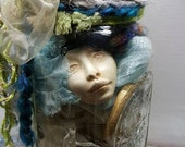 Creativity in a Jar, DIY Create your own, Art Dolls, Moon Goddess, Assemblage de-stash, clay faces,