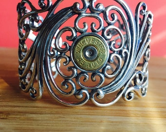 Sterling Silver Filigree Scroll Cuff Bracelet with Winchester 45 Auto, Bullet Cuff Bracelet, Sterling Bracelet