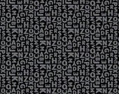One yard Black All Caps cotton quilt fabric - Windham Fabrics, Uppercase by Janine VanGool