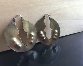 Arthropod Earrings - Lightweight Brass Handforged Hoop Earrings - Ready to ship