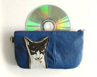 Mean Cat Pouch with Zip Pocket on the Back