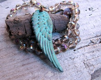 SALE Free Bird || Verdigris Patina Wing | Faceted Czech Glass | Earthy | Organic | Hand-knotted Necklace | OOAK | Bird Lover | Nature Lover