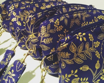 Made to Order  Clematis Navy and Gold Wristlet, Metallic Floral Clutch, Rifle Paper Co Zipper Bag, Wedding Purse