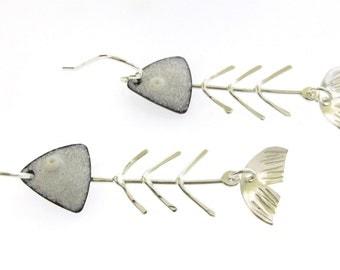 Fish Bone Earrings, white enameled earrings with sterling silver fish skeletons, long dangle earrings, beach jewelry
