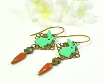 Green Rabbit Earrings Mint and Julep- Bunny Earrings - Carrot and Rabbit Jewelry - Pet Bunny - Bunny Jewelry - Pet Bunny - Nature Jewelry