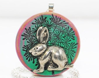 Rabbit Jewelry Bunny Necklace Dandelion - Rabbit Pendant - Bunny Jewelry - White Rabbit