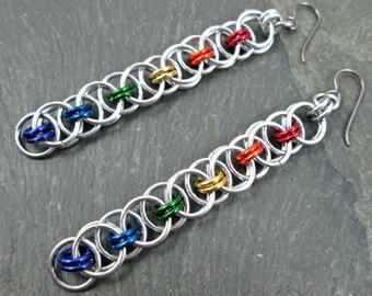 Chainmaille Earrings - Rainbow Earrings -Helm Weave - Rainbow Chainmaille - Chainmail Jewelry - Rainbow Jewelry