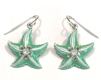 Starfish Earrings Iced Pearlized Mint Green and White with Crystal Accents