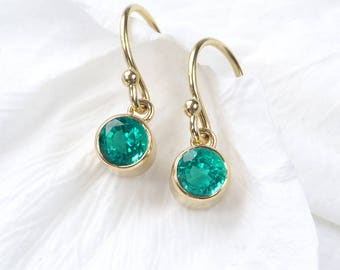 Emerald Earrings in 18ct Gold | May Birthstone | Handmade in the UK