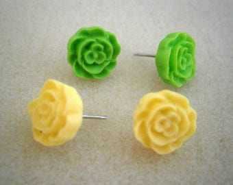 Lemon and Lime Resin Earrings on Sterling Silver Posts, Yellow and Green Flower Earrings, Willow Glass