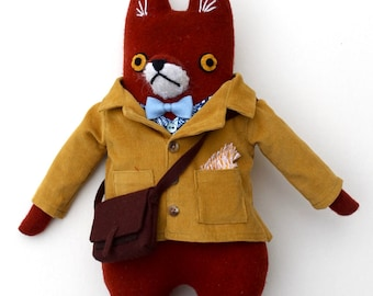 Fox Fellow wool doll plush hipster schoolboy