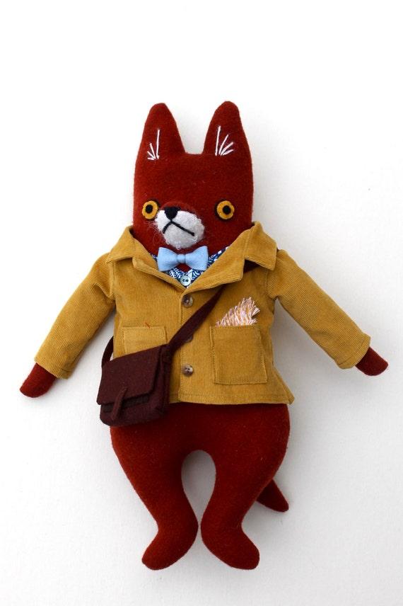 Fox Fellow wool doll plush hipster schoolboy