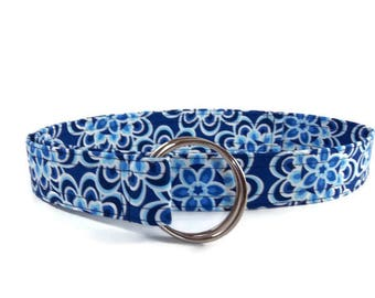 Women's Blue and White Floral Print Fabric Belt
