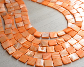 The Tegan- Orange Mother of Pearl Statement Necklace
