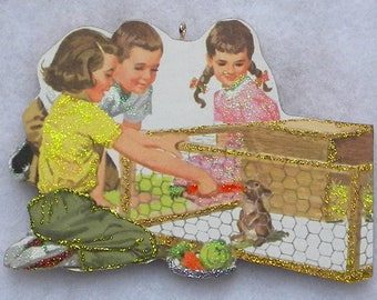 Kids Feeding Bunny Rabbit Glittered Wood Christmas Ornament Vintage Book Image
