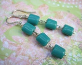 Dangle Earrings - Dark Turquoise Czech Glass Beads - Sterling Silver