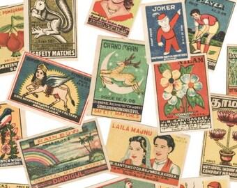 25pcs INDIAN MATCHBOX STICKERS Vintage Retro Images Set B