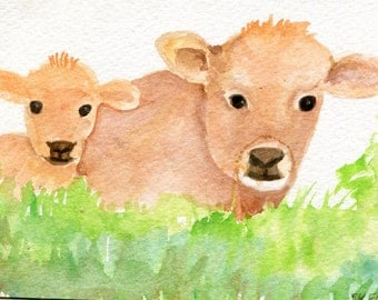 Cow, calf watercolor painting, 4 x 6 cows watercolor, cows art, cows painting, animal watercolor, cows illustration, cows wall art, portrait