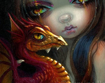 Golden Eyed Dragonling art print by Jasmine Becket-Griffith 8x10 red baby dragon fairy
